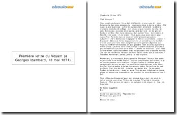 Lettre à Georges Izambard, Arthur Rimbaud (13 mai 1871)