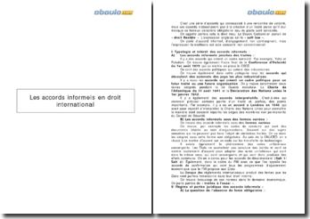 Les accords informels en droit international