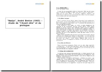 Nadja, André Breton (1963) - étude de l'Avant-dire et du prologue