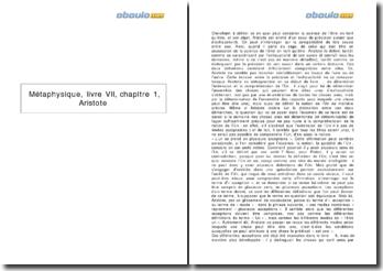 Métaphysique, livre VII, chapitre 1, Aristote