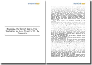 Livre I, chapitre VII, du Contrat Social, Rousseau