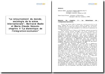 Le retournement du monde, sociologie de la scène internationale, Bertrand Badie et Marie-Claude Smouts - chapitre V La dialectique de l'intégration/exclusion