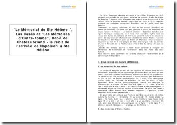 Le Mémorial de Ste Hélène, Las Cases et Les Mémoires d'Outre-tombe, René de Chateaubriand - le récit de l'arrivée de Napoléon à Ste Hélène