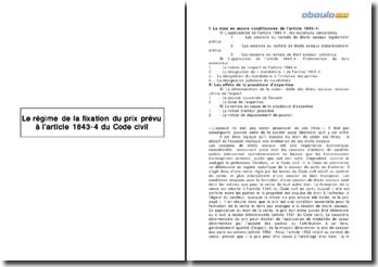 Le régime de la fixation du prix prévu à l'article 1843-4 du Code civil