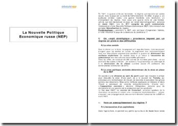 La Nouvelle Politique Economique russe (NEP)