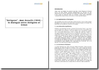 Antigone, Jean Anouilh (1944) - le dialogue entre Antigone et Créon