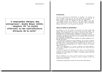 L'impossible éthique des entreprises, André Boyer (2002) - chapitre VII Le mythe d'Hermès ou les contradictions éthiques de la vente