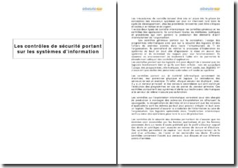 Les contrôles de sécurité portant sur les systèmes d'information