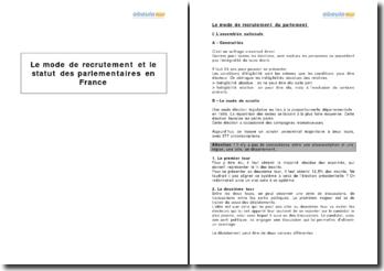 Le mode de recrutement et le statut des parlementaires en France