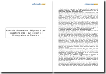 Analyse du sujet L'immigration en Europe