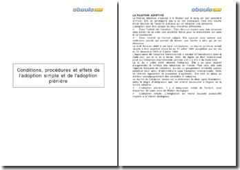 Conditions, procédures et effets de l'adoption simple et de l'adoption plénière