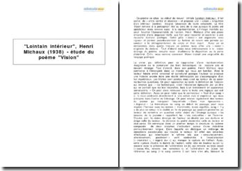 Lointain intérieur, Henri Michaux (1938) - étude du poème Vision