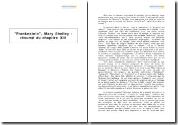 Frankestein, Mary Shelley - résumé du chapitre XIII