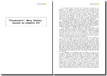 Frankestein, Mary Shelley - résumé du chapitre XVI