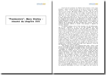 Frankestein, Mary Shelley - résumé du chapitre XVII