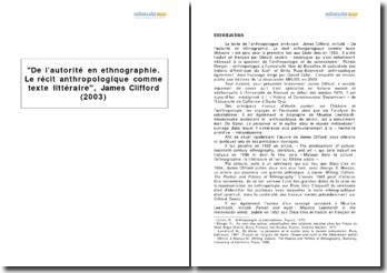 De l'autorité en ethnographie. Le récit anthropologique comme texte littéraire, James Clifford (2003)