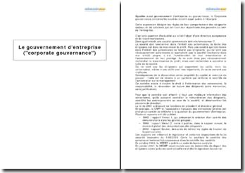 Le gouvernement d'entreprise (corporate gouvernance)