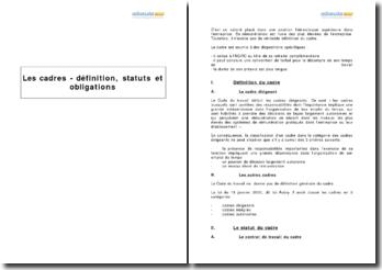 Les cadres - définition, statuts et obligations