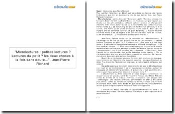 Microlectures : petites lectures? Lectures du petit? les deux choses à la fois sans doute..., Jean-Pierre Richard