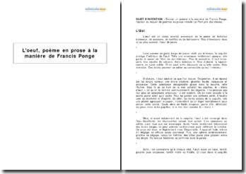 L'oeuf, poème en prose à la manière de Francis Ponge