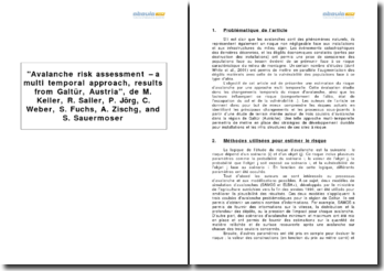 Avalanche risk assessment - a multi temporal approach, results from Galtür, Austria, de M. Keiler, R. Sailer, P. Jörg, C. Weber, S. Fuchs, A. Zischg, and S. Sauermoser