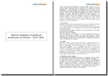 Opinion publique et politique extérieure en France entre 1914 et 1940 ; Pierre Guillen ; pp 37-56.
