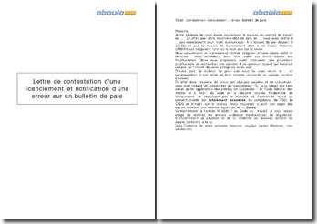 Lettre de contestation d'une licenciement et notification d'une erreur sur un bulletin de paie