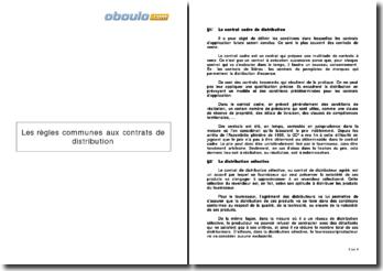Les règles communes aux contrats de distribution