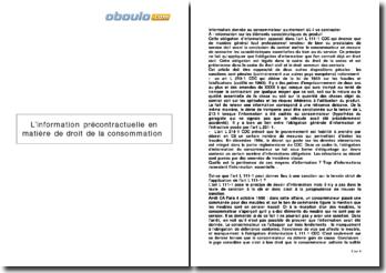 L'information précontractuelle en matière de droit de la consommation