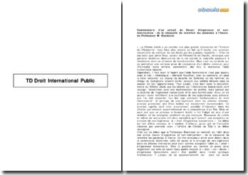 Commentaire d'un extrait de Devoir d'ingérence et non-intervention : de la nécessité de remettre les pendules à l'heure, du Professeur M. Eisemann