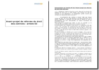 Avant-projet de réforme du droit des contrats - article 63
