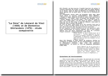 La Cène de Léonard de Vinci (1498) et de Domenico Ghirlandaio (1476) - étude comparative