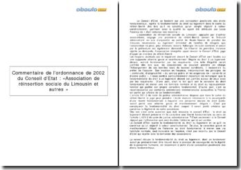 Commentaire de l'ordonnance de 2002 du Conseil d'Etat : «Association de réinsertion sociale du Limousin et autres ».