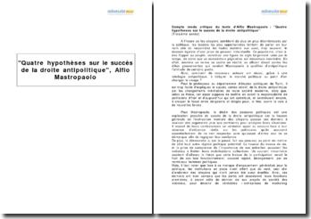 Quatre hypothèses sur le succès de la droite antipolitique, Alfio Mastropaolo