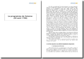 Le programme de Calonne (20 août 1786)