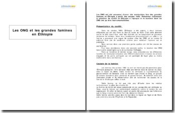 Les ONG et les grandes famines en Éthiopie