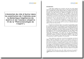 L'évolution du rôle d'Autrui dans la constitution de l'individu avec la dialectique hégélienne du maître et de l'esclave (chapitre IV de la Phénoménologie de l'esprit)