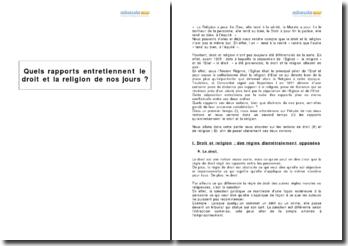 Quels rapports entretiennent le droit et la religion de nos jours ?