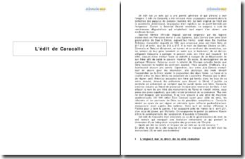 L'édit de Caracalla