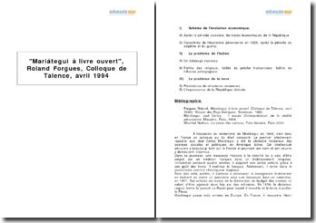 Mariátegui à livre ouvert, Roland Forgues, Colloque de Talence, avril 1994
