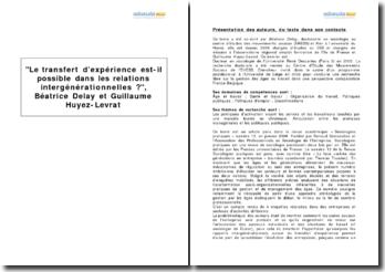 Le transfert d'expérience est-il possible dans les relations intergénérationnelles ?, Béatrice Delay et Guillaume Huyez-Levrat