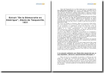 Extrait De la Démocratie en Amérique, Alexis de Tocqueville, 1831
