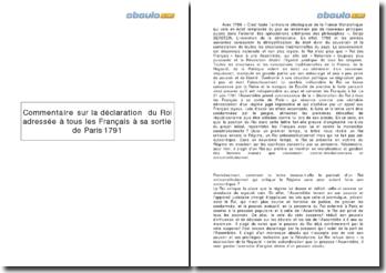 Déclaration du Roi adressée à tous les Français à sa sortie de Paris 1791