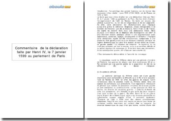 Commentaire de la déclaration faite par Henri IV, le 7 janvier 1599 au parlement de Paris