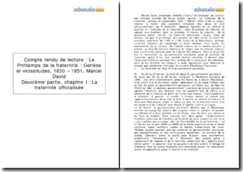 Compte rendu de lecture : Le Printemps de la fraternité : Genèse et vicissitudes, 1830 - 1851 - Marcel David