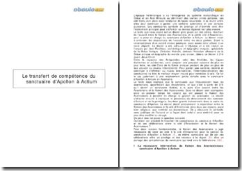 Le transfert de compétence du sanctuaire d'Apollon à Actium