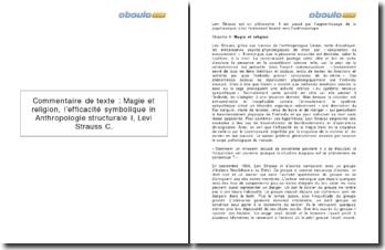 Magie et religion, l'efficacité symbolique in Anthropologie structurale I - Levi Strauss C.