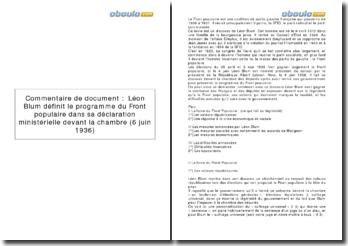 Léon Blum définissant le programme du front populaire dans sa déclaration ministérielle devant la chambre (6 Juin 1936)