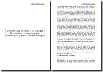 les grandes démocraties contemporaines (dernier paragraphe), de Philippe Lavaux