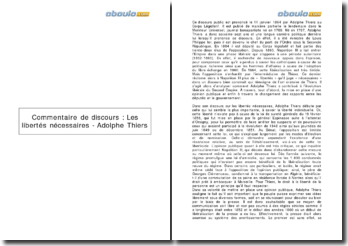 Discours : Les libertés nécessaires - Adolphe Thiers